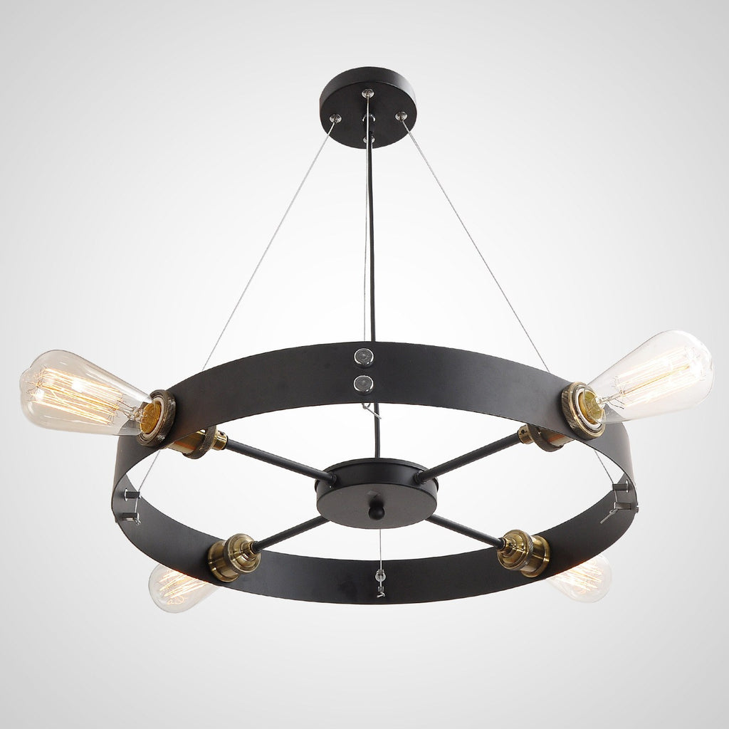 Black round vintage barn metal hanging ceiling pendant for Metal hanging lights