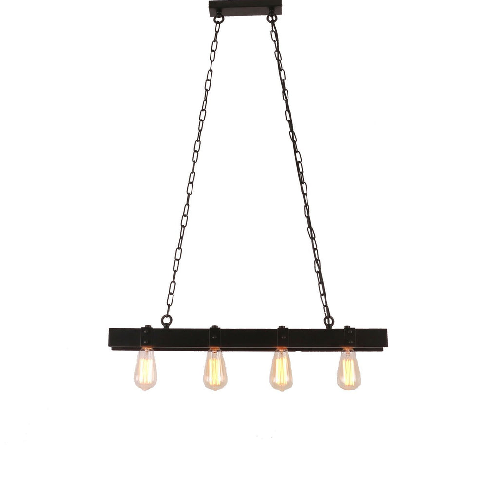 Rustic Black Metal Linear Pendant Light with 4 Lights