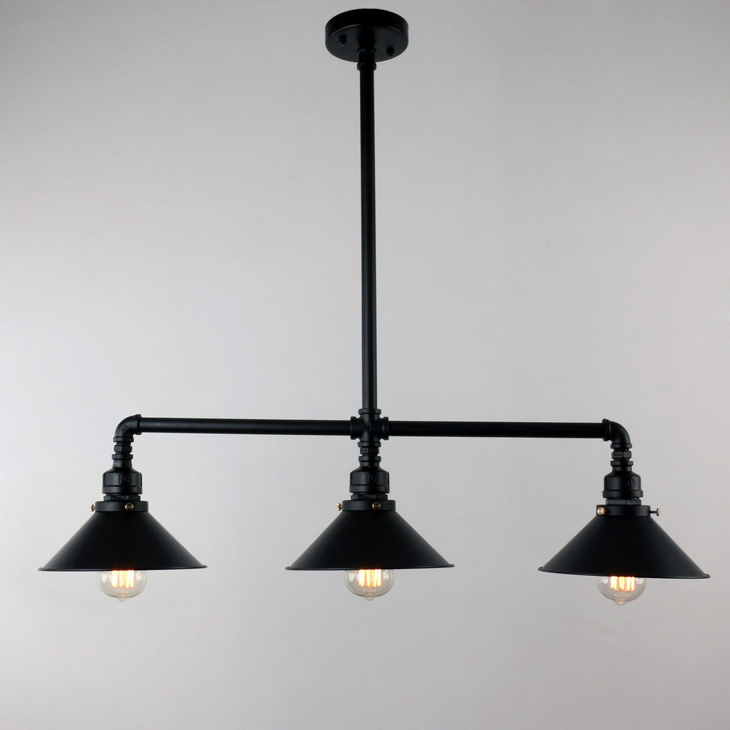 UNITARY BRAND Black Antique Rustic Metal Shade Hanging Ceiling Pendant Light Max. 120W With 3 Lights - unitarylighting