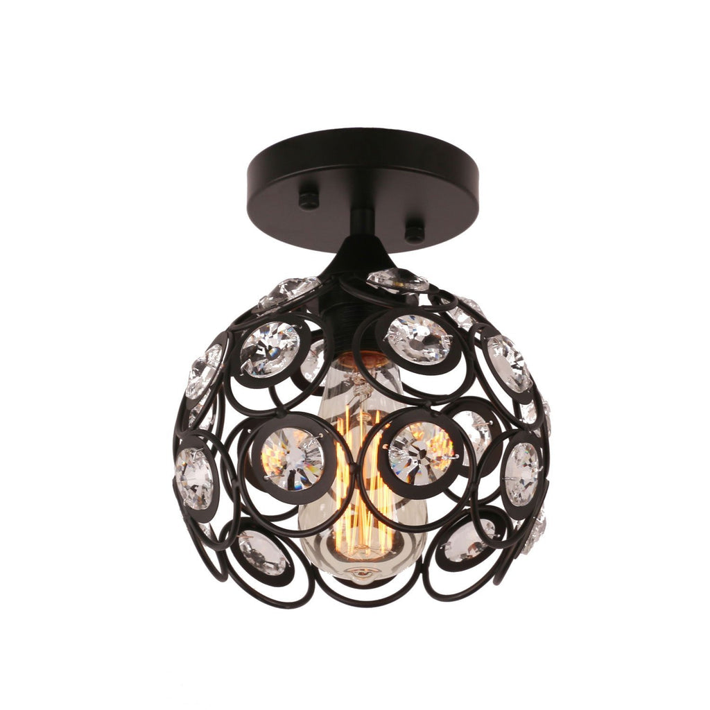Antique Black Metal Crystal Hollow Semi Flush Mount Ceiling Light