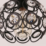 Antique Black Metal Crystal Hollow Semi Flush Mount Ceiling Light - unitarylighting