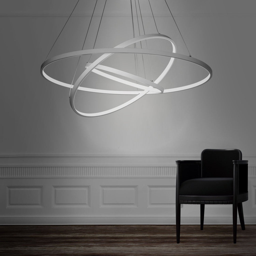Modern white 90w led 3 rings large pendant light unitarylighting modern white 90w led 3 rings large pendant light mozeypictures Gallery
