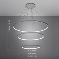 Modern White 90W LED 3 Rings Large Pendant light - unitarylighting
