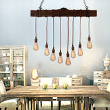 Rustic Black Wood Hanging Multi Pendant Light with 8 Lights - unitarylighting