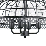 Vintage Black Metal Net Shade Dining Room Candle Chandelier with 4 Lights