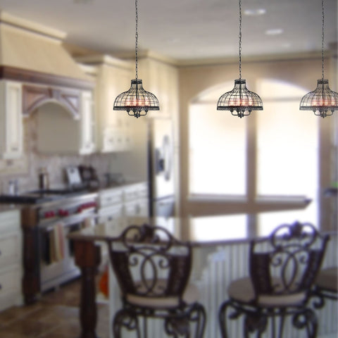 ... Vintage Black Metal Net Shade Dining Room Candle Chandelier With 4  Lights