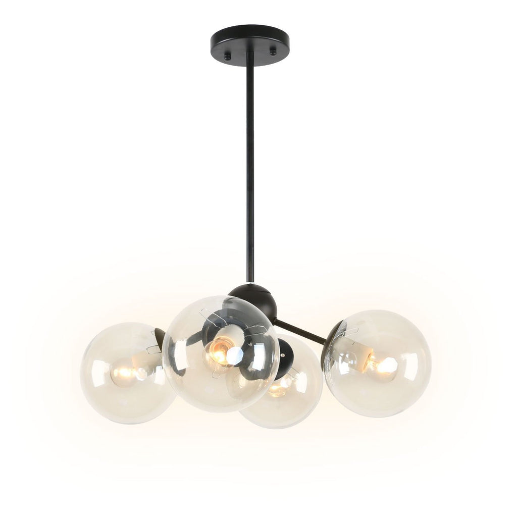 Black Metal Vintage Art Deco Dining Room Globe Glass Shades Flush Mount Ceiling Light with 4 Lights