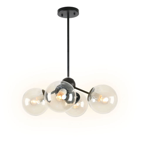 Black Metal Vintage Art Deco Dining Room Globe Glass Shades Flush Mount Ceiling Light with 4 Lights - unitarylighting