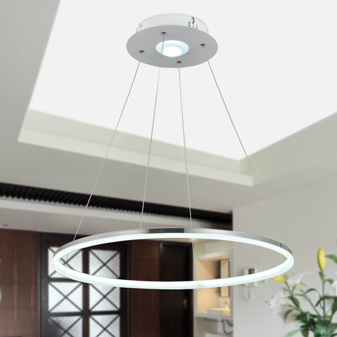 Modern Nature White LED Acrylic Pendant Light Remote Control Included Max 35W Chrome Finish - unitarylighting
