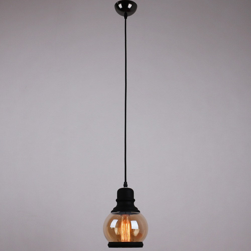 Glass Mason Jar Pendant Lighting With 3 Lights Black Finish - unitarylighting
