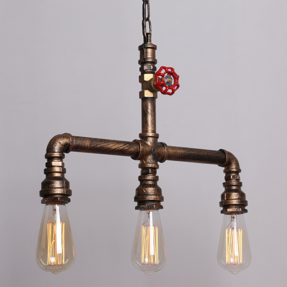 Vintage Metal Water Pipe Pendant Lighting  With 3 Lights - unitarylighting