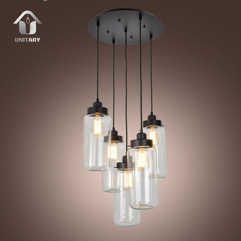 UNITARY BRAND Vintage Glass Mason Jar Pendant Light Max 300W With 5 Lights Painted Finish - unitarylighting