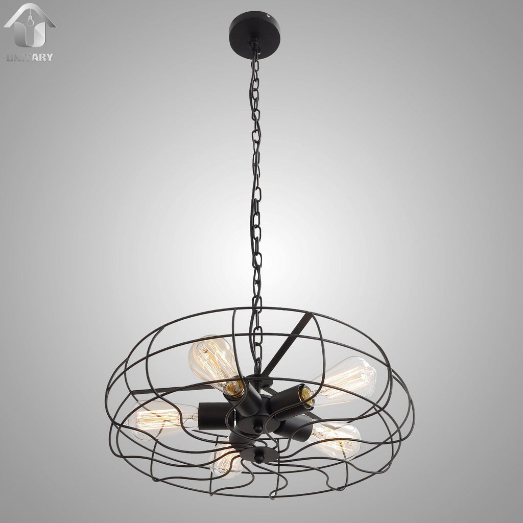 Vintage Barn Metal Hanging Ceiling Chandelier Max. 200W With 5 Lights Painted Finish - unitarylighting