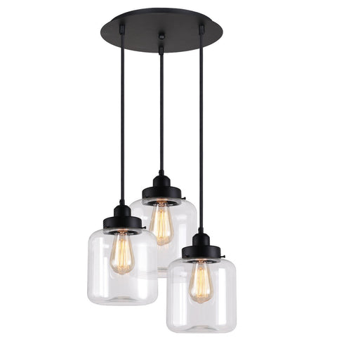 Unitary Brand Vintage Glass Shade Jar Pendant Light Max 180W with 3 Lights Painted Finish