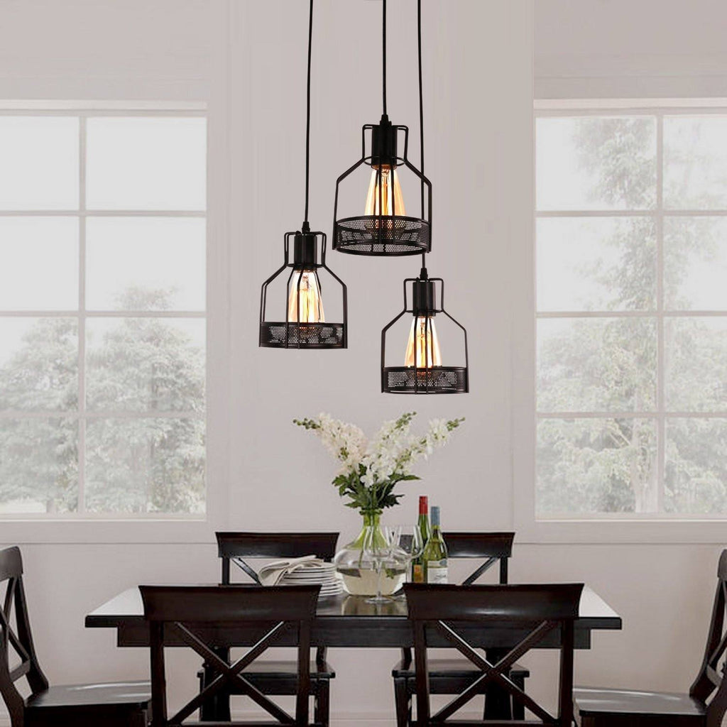 Unitary Brand Rustic Black Metal Cage Shade Dining Room Pendant Light With 3 E26 Bulb Sockets