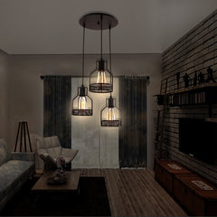 Unitary Brand Rustic Black Metal Cage Shade Dining Room Pendant Light with 3 E26 Bulb Sockets 120W Painted Finish - unitarylighting