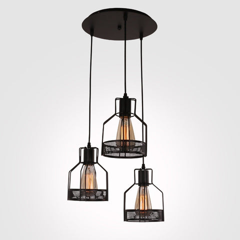 Rustic black metal cage dining room pendant light with 3 lights unitary brand rustic black metal cage shade dining room pendant light with 3 e26 bulb sockets aloadofball Gallery