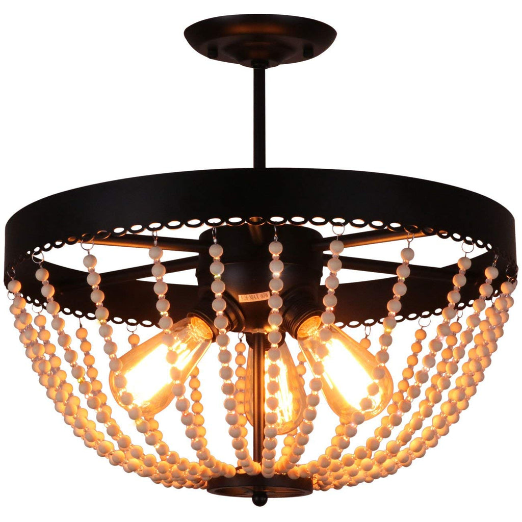 Unitary Brand Rustic Black Metal And Wood Bead Decoration Semi Flush M Unitarylighting