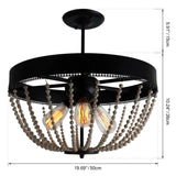Unitary Brand Rustic Black Metal and Wood Bead Decoration Semi Flush Mount Ceiling Light with 3 E26 Bulb Sockets 120W Painted Finish