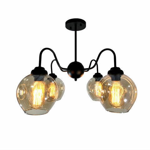 Unitary Brand Antique Black Metal and Glass Shade Semi Flush Mount Ceiling Light with 4 E26 Bulb Sockets 240W Painted Finish