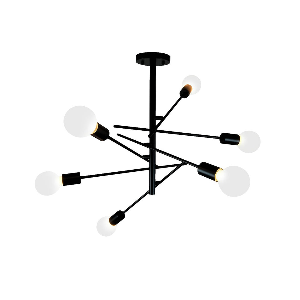 Unitary Brand Modern Black Metal Sputnik Design Semi Flush Mount Ceiling Light with 6 E26 Bulb Sockets 360W Painted Finish