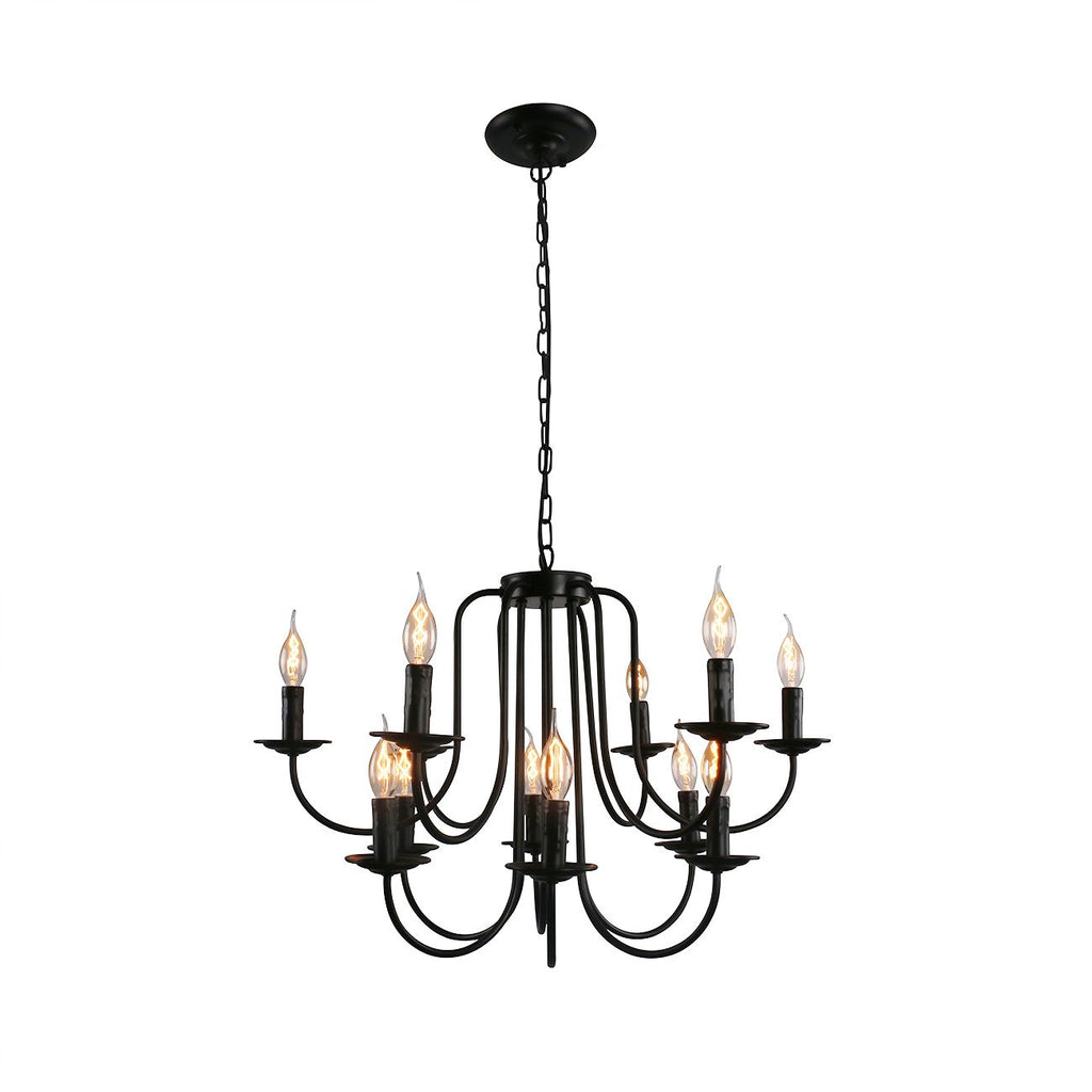 Unitary Brand Antique Black Metal Wrought Iron Dining Room Candle Chan Unitarylighting