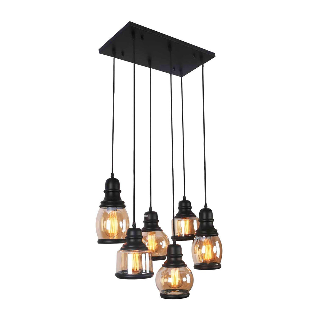 Unitary Brand Antique Black Shade Glass Jar Dining Room Multi Pendant Light Fixture with 6 E26 Bulb Sockets 360W Painted Finish