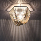 Unitary Brand Antique Black Metal and Wood Beads Decoration Hexagon Flush Mount Ceiling Light with 1 E26 Bulb Socket 60W Painted Finish