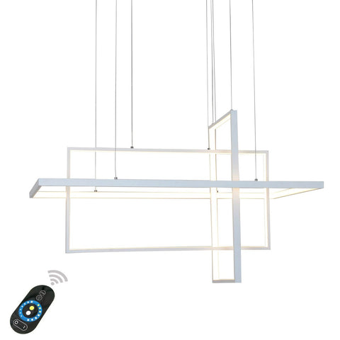 Unitary Brand Modern White Acrylic Remote Control Nature White and Warm White Dimmable LED Geometric Modeling Design Pendant Lighting Max 90W Painted Finish
