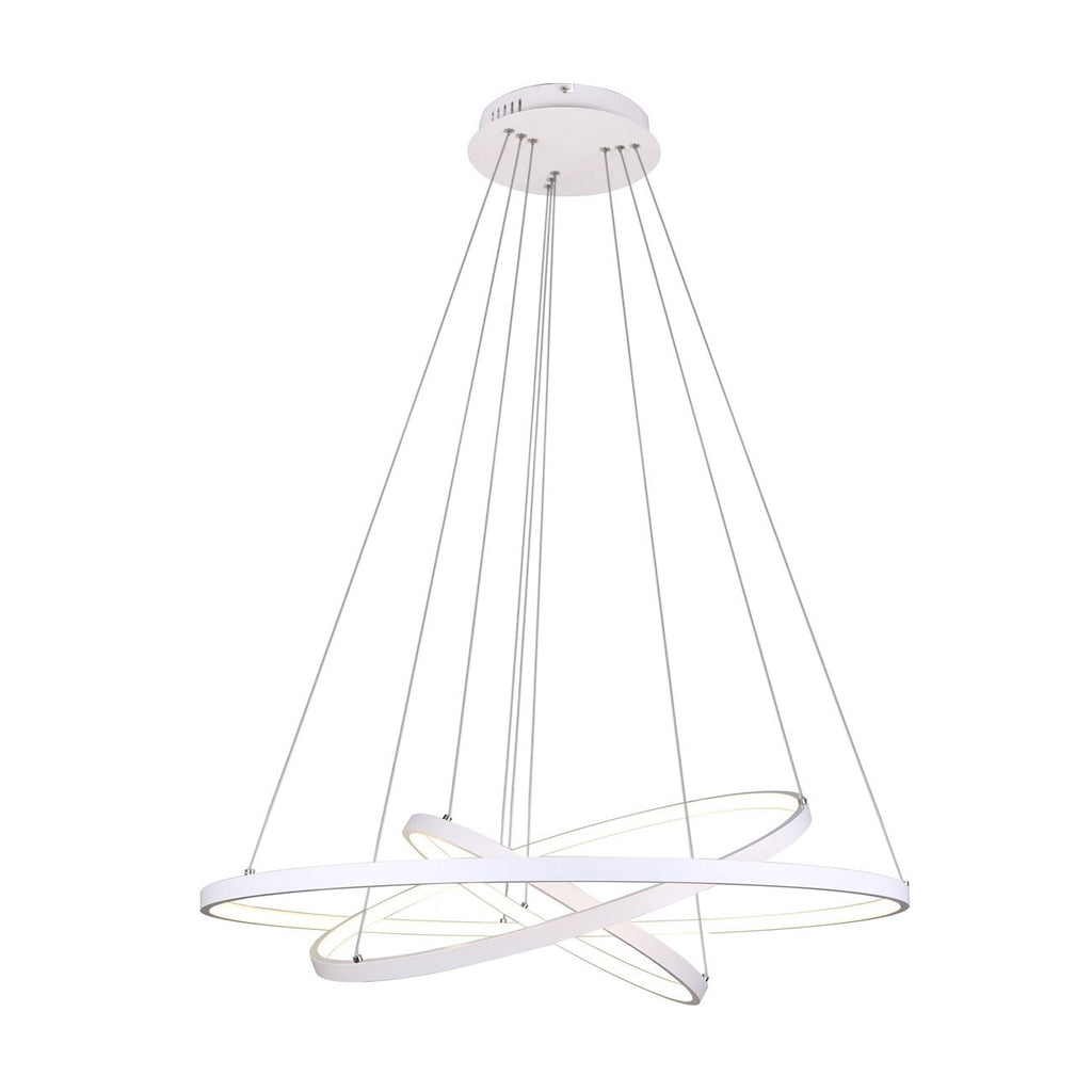 Unitary Brand Modern White Acrylic Nature White LED 3 Rings Pendant light with Max 90W Painted Finish