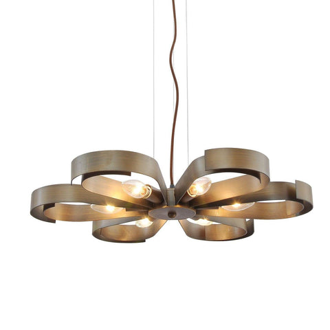 Unitary Brand Antique Copper Metal Floral Pendant light with 6 E12 Bulb Sockets 360W Copper Finish - unitarylighting
