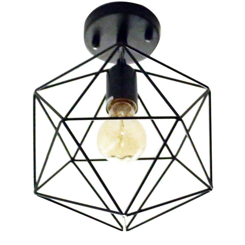 Unitary Brand Antique Black Metal Cage Shade Semi Flush Mount Ceiling Light with 1 E26 Bulb Socket 40W Painted Finish - unitarylighting