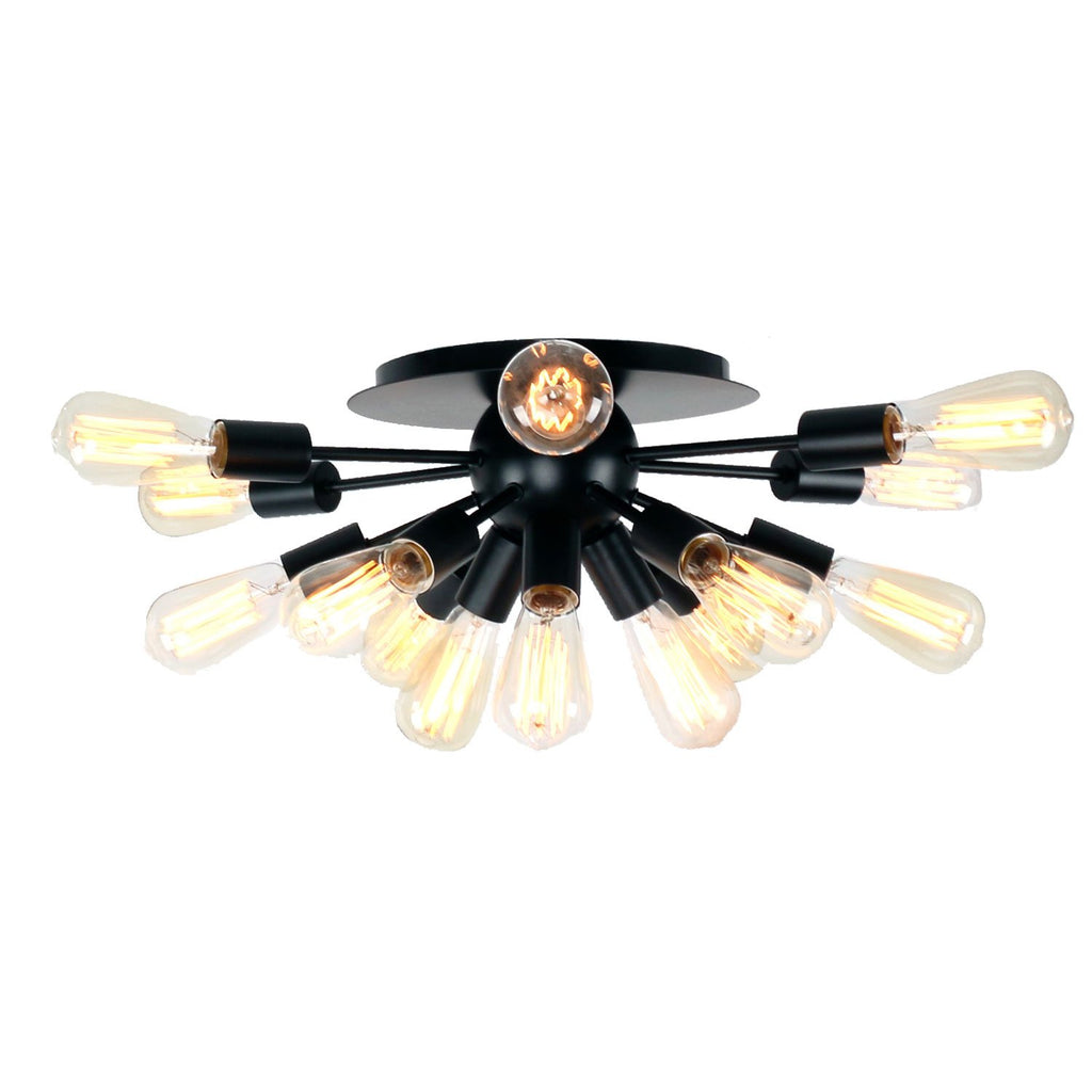 Unitary Brand Antique Black Metal Semi Flush Mount Ceiling Light with 15 E26 Bulb Sockets 600W Painted Finish