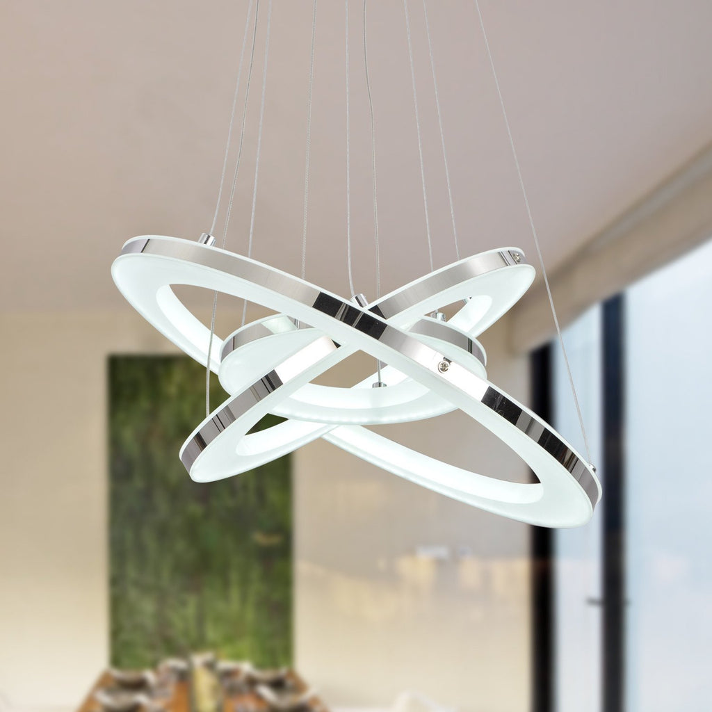 UNITARY BRAND Modern Warm White LED Acrylic Pendant Light With 3 Rings Max 33W Chrome Finish - unitarylighting