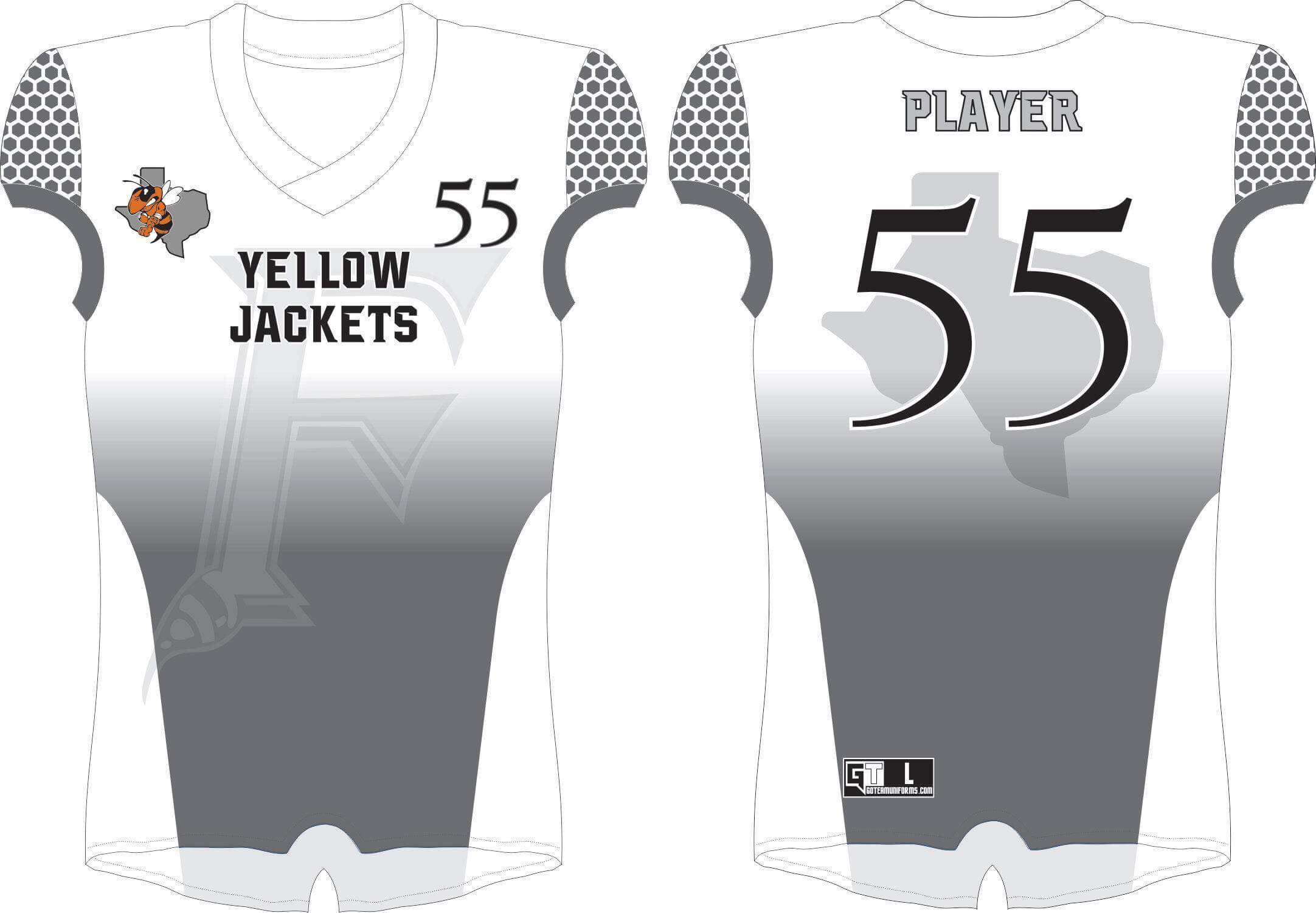Ferris Yellow Jackets White Tackle Jersey