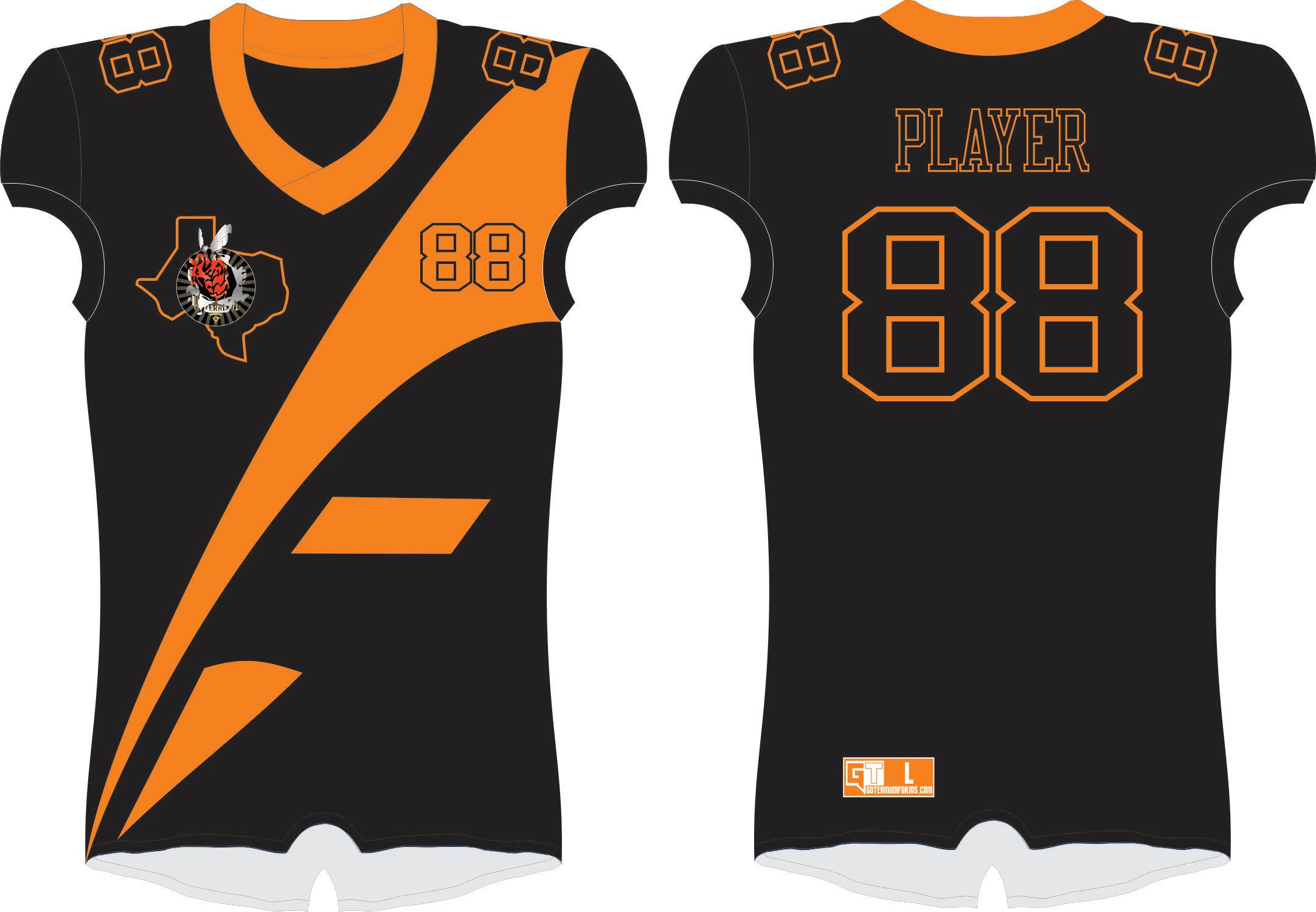 Ferris Yellow Jackets Orange and Black Tribal Tackle Jersey