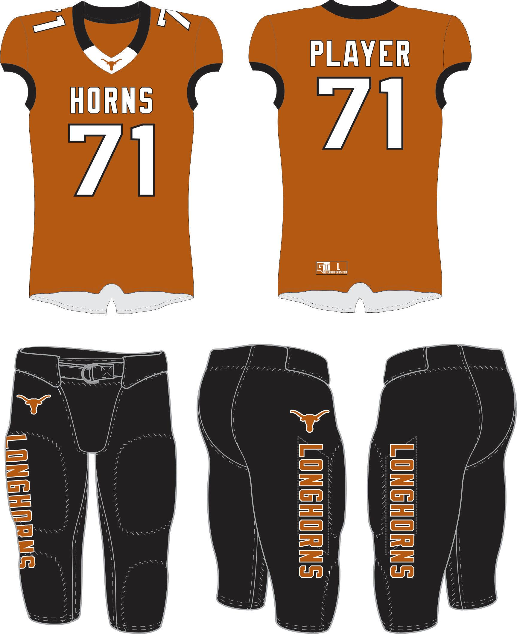 West Texas Longhorns Tackle Uniform