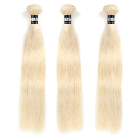 Bundle 3 Brazilian Hair REMY 100% Natural Platinum Blond Hair Weave Straight