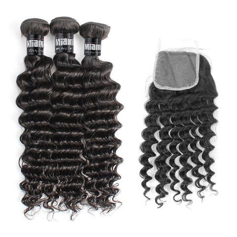 Bundle 3 Pcs Hair Weave Brazilian REMY Deep Wave 100% Natural + 1 Closure Free Style