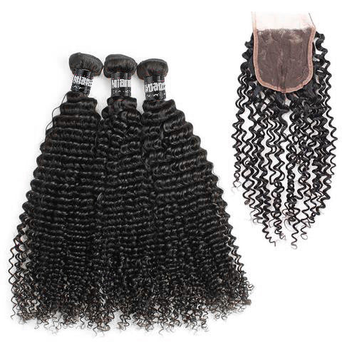 Bundle 3 Pcs Hair Weave Brazilian REMY Kinky Curly100% Natural + 1 Closure Free Style