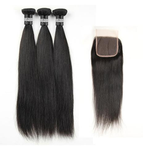 Bundle 3 Pcs Hair Weave Brazilian REMY Straight 100% Natural + 1 Closure Free Style