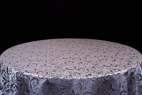 Silver, Black & White Round Damask Table Cloth