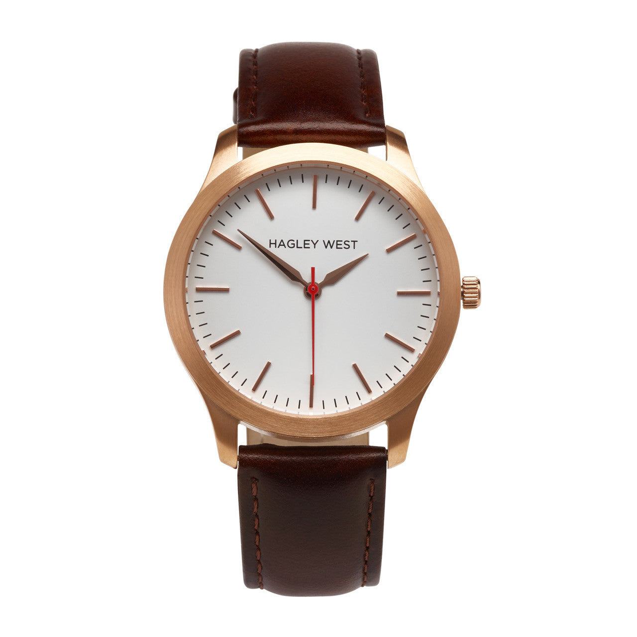 Classic - HWW003<!-- split -->White/Rose Gold/Brown Leather