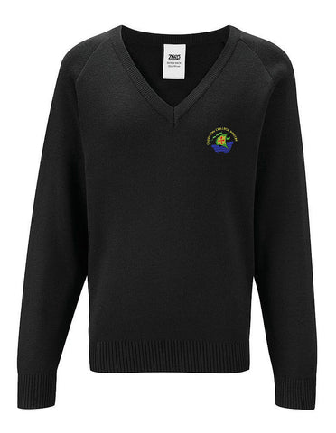 Junior Black V Neck Sweater - Caedmon College Whitby