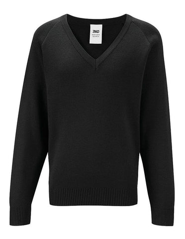 Senior Black V Neck Sweater - Caedmon College Whitby