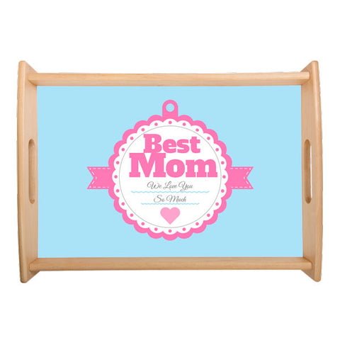 Mother's Day - Small Serving Tray - Design 2 - Natural Wood - (off the shelf design)