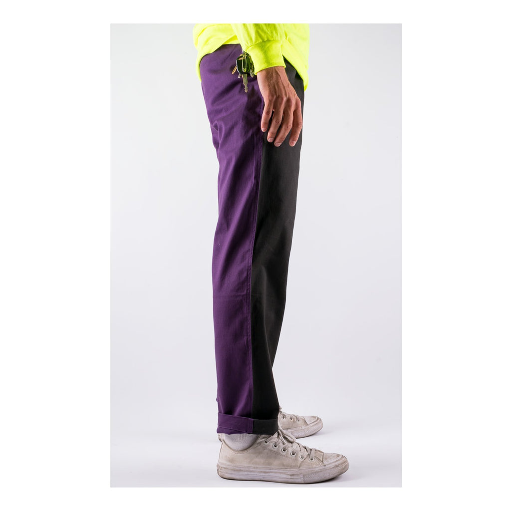Dark Wave Split Colour Elastic Pant (Black/Grape)