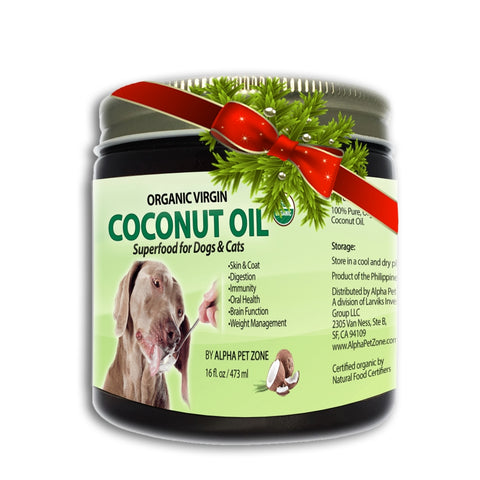 Alpha Pet Zone Coconut oil for Dogs to Eat, Skin and Coat Superfood, Natural Digestive Immune Support - 16oz