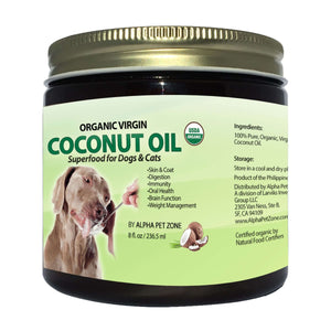 Alpha Pet Zone Coconut oil for Dogs to Eat, Skin and Coat Superfood, Natural Digestive Immune Support - 8oz