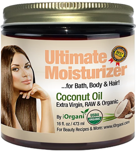 Raw Virgin Organic Coconut Oil for Body, Skin, Scalp and Hair Growth by iOrgani - ox2ox Gifts and Goods for Everyone